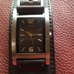 Men's Guess watch with leather